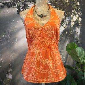 Orange Paisley Side Zipper Halter Top Ties